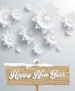 Stock Illustration of Snowflakes Background. Happy New Year
