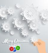 Snowflakes Background. Merry Christmas - stock illustration