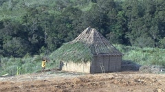Huli wigmen roof construction Stock Footage