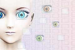 High-tech face technology - stock illustration