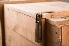 Latch on old wooden chest Stock Photos