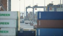 View Through Containers In The Port - stock footage