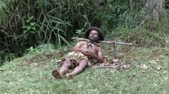 Huli wigmen sleeping position Stock Footage