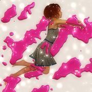 Stock Illustration of Jumping girl with paint splash
