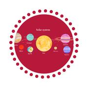 Solar System Icon Flat Design Style Stock Illustration