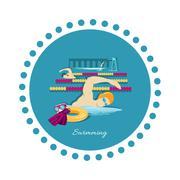 Swimming Sport Concept Icon Flat Design Stock Illustration
