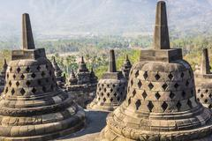 World heritage & the biggest bhuddist temple Borobudur in Yogjakarta in Java, - stock photo