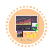 Invest in Shares Concept Icon Flat Design - stock illustration