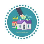 Invest in Real Estate Icon Flat Design Piirros