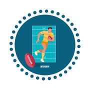 Stock Illustration of Rugby Sport Concept Icon Flat Design
