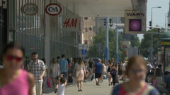 Passing by Galeria Centrum, a shopping mall on Marszalkowska street, Warsaw Stock Footage