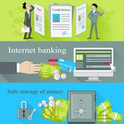 Stock Illustration of Internet Banking and Safe Storage Money