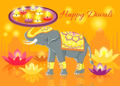 Happy Diwali Elephant Indian Celebrate - stock illustration