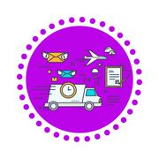 Fast Delivery Concept Icon Flat Design - stock illustration