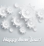 Stock Illustration of Happy New Year Snowflakes Background