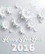 Stock Illustration of Happy New Year 2016 Snowflakes Background