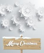 Merry Christmas Board Snowflake Background - stock illustration