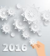 Snowflake Background New Year 2016 Stock Illustration
