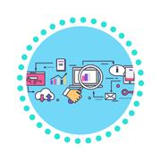 SEO Concept Icon Flat Design Style - stock illustration