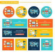 Set of Network Concept Flat Design - stock illustration