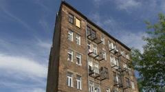 Old brick building on Sprzeczna street in Warsaw Stock Footage