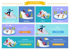 Active Winter Vacation Extreme Sports Stock Illustration