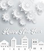 Happy New Year Snow City Design - stock illustration