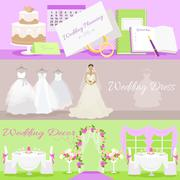Wedding Planning Dress and Decor Concept - stock illustration