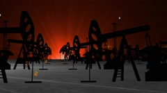 Oil Pump Field at Sunset. Animation Stock Footage