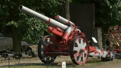 Red cannon displayed at Polish Army Museum, Warsaw Stock Footage