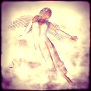 White Angel in Clouds - stock illustration