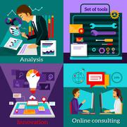 Analysis Innovation. Online Consulting. Set Tools - stock illustration