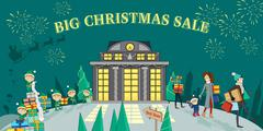 Big Christmas Sale Glowing Shop - stock illustration