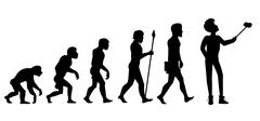 Human Evolution from Ape to Man - stock illustration