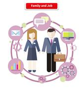 Balance Between Work and Family Life - stock illustration