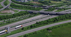 Aerial view of vehicles passing through roads and freeways, Stuttgart, Stock Footage