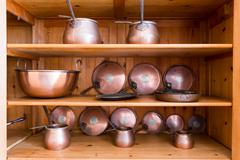 Old ibriks and pans - stock photo