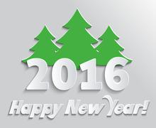 Happy New Year 2016 Banner with Tree Stock Illustration
