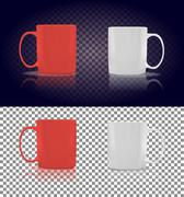 Set of Cup or Mug White and Red Stock Illustration