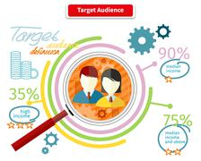 Icon Flat Style Concept Target Audience - stock illustration