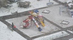 Playground during a heavy snowfall in Moscow, Russia Stock Footage