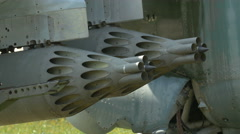 Aircraft's military weapons at Polish Army Museum, Warsaw Stock Footage