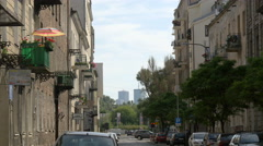 Marriott and InterContinental Hotels seen from a narrow street in Warsaw - stock footage