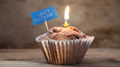 Stock Video Footage of Happy Birthday text. Cupcakes with a candles.