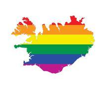 iceland gay map - stock illustration