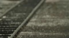 Train rails in rain Cinerails Camera Dolly System Stock Footage