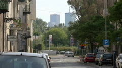 View of Marriott and InterContinental Hotels from a narrow street in Warsaw - stock footage