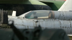 Fighter jet plane at Polish Army Museum, Warsaw Stock Footage
