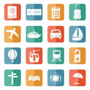 Travel and tourism icons - flat vector Stock Illustration