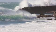 Waves crahsihng on  Moroccan shore. Perfect surf in land of many pointbrakes Stock Footage